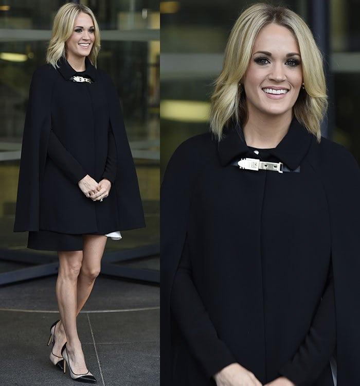 Carrie-Underwood-Kate-Spade-coat-Bionda-Castana-pumps
