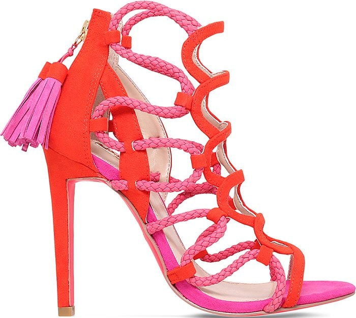 Carvela-Gabriel-red-pink-suede-cage-sandals