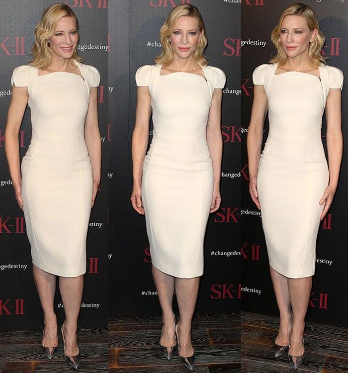 Cate-Blanchett-Antonio-Berardi-form-fitting-cream-dress