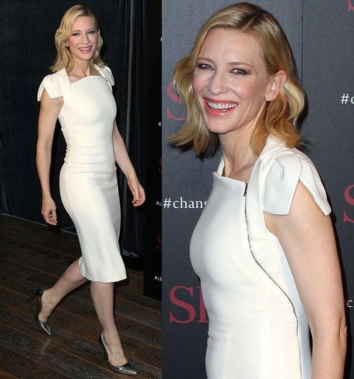 Cate-Blanchett-Antonio-Berardi-ivory-fitted-dress