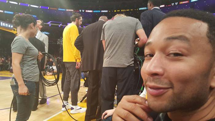 John Legend attends a Los Angeles Lakers game
