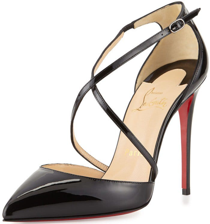Christian Louboutin Cross Blake 100mm Patent Red Sole Pump in Black