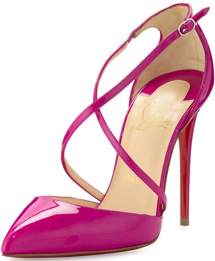 Christian Louboutin Cross Blake 100mm Patent Red Sole Pump in Indian Rose