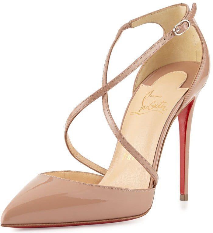 Christian Louboutin Cross Blake 100mm Patent Red Sole Pump in Nude