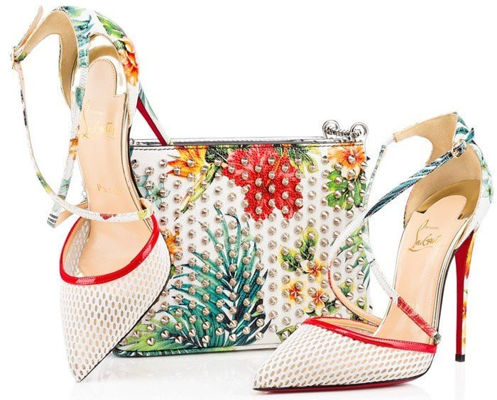 Christian Louboutin Cross Blake 100mm Patent Red Sole Pumps in White Fishnet