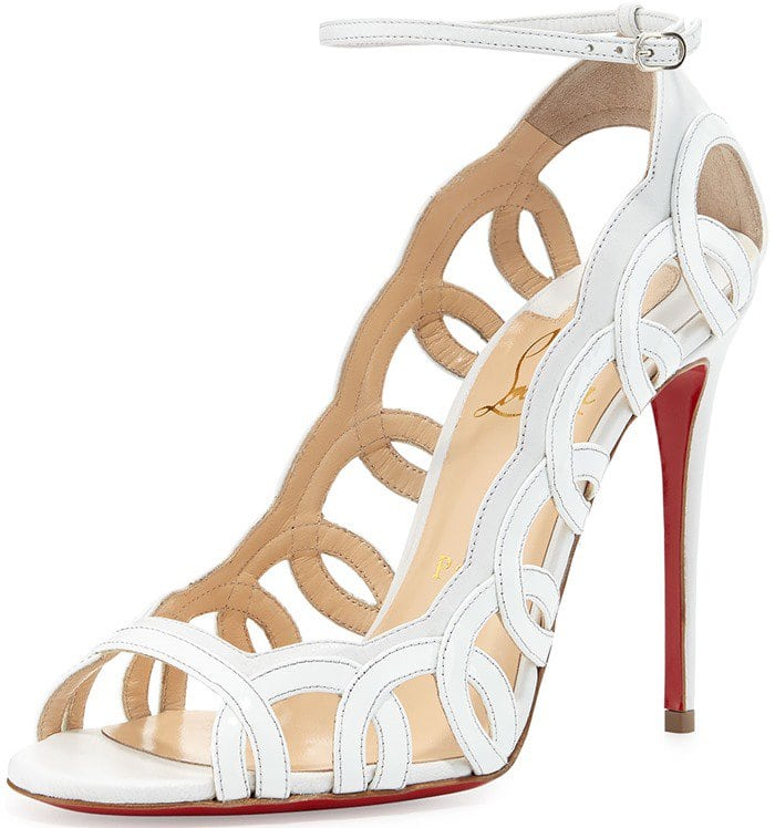 Christian Louboutin Houla Hot Patent 100mm Red Sole Sandal in White
