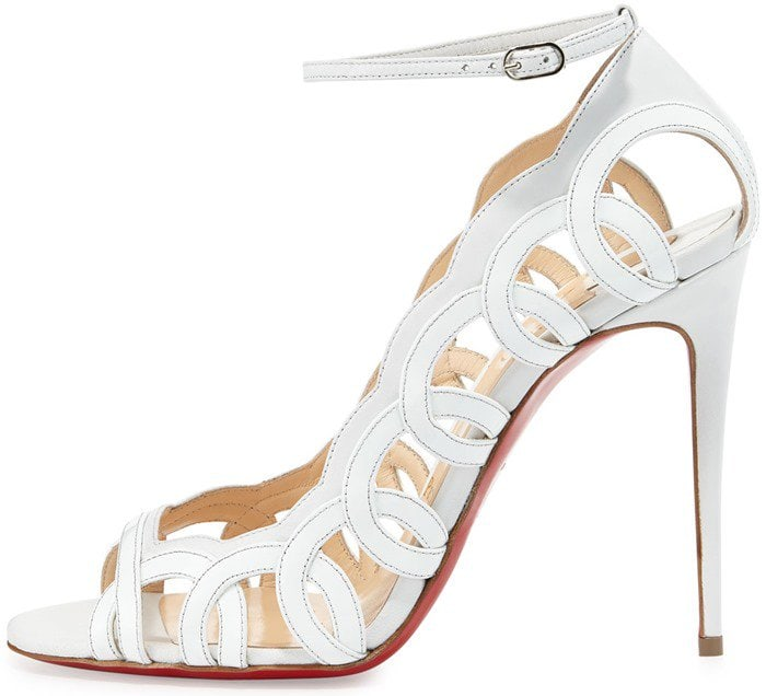 Christian Louboutin Houla Hot Patent 100mm Red Sole Sandals in White