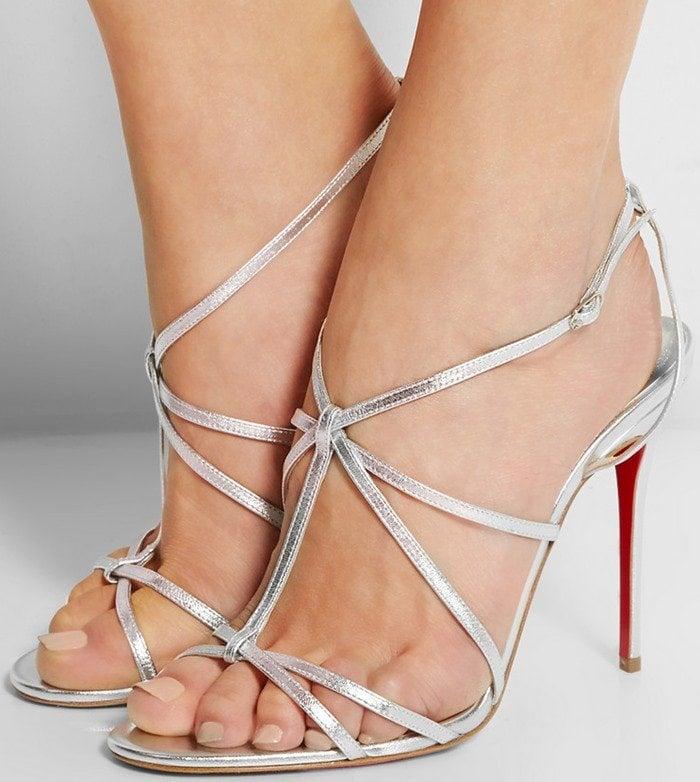 Christian Louboutin 'Youpiyou' Metallic Crisscross Red Sole Sandal in Silver
