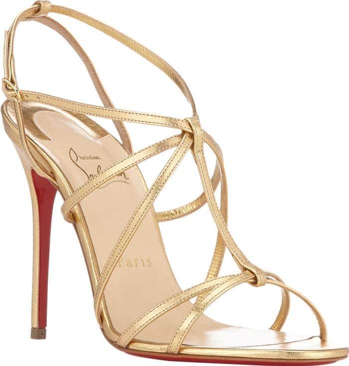 Christian Louboutin 'Youpiyou' Metallic Crisscross Red Sole Sandal in Gold