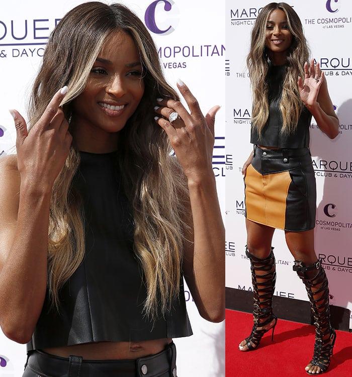 Ciara-black-leather-crop-top-Coach-leather-mini-skirt
