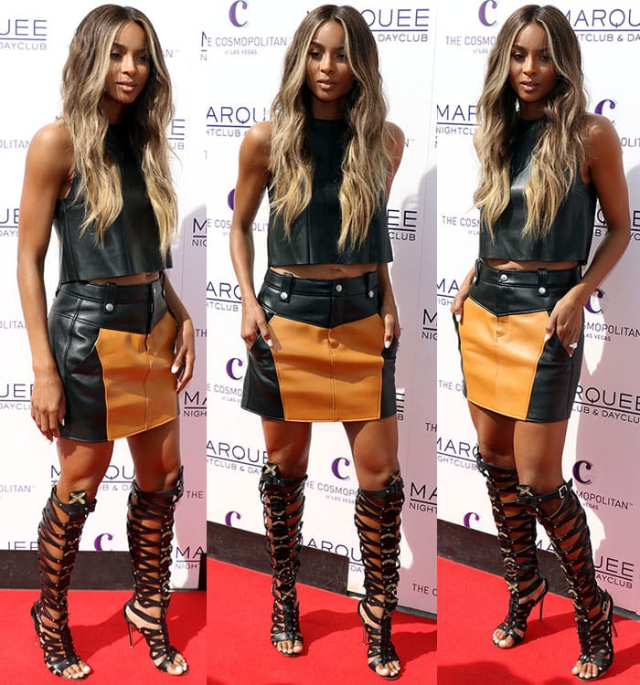 Ciara-leather-crop-top-colorblock-leather-skirt-gladiator-heels