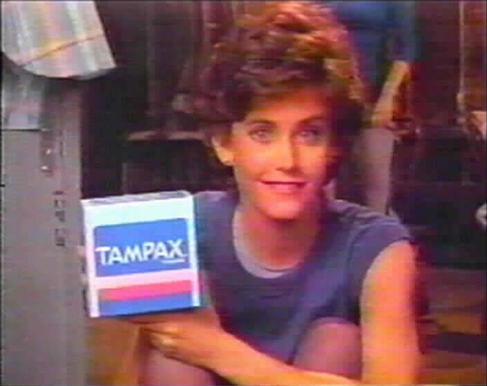 Courteney Cox advertises menstrual products in a 1985 Tampax commercial