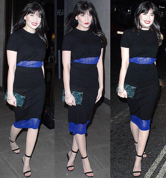 Daisy-Lowe-Black-Dress-Blue-Sheer-Lace-Panel