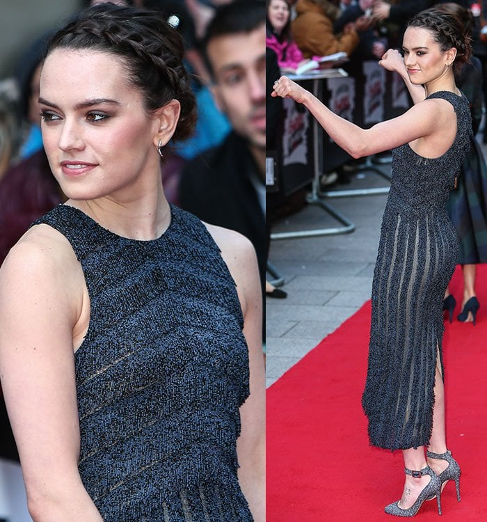 Daisy-Ridley-Boss-fringe-embroidered-sheer-panel-midi-dress