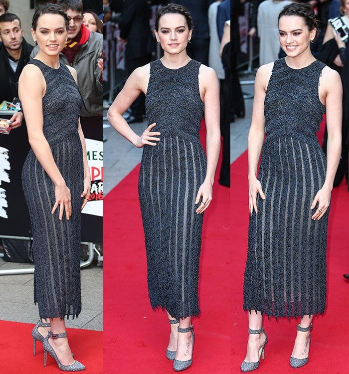 Daisy-Ridley-Boss-fringe-sheer-sleeveless-dress