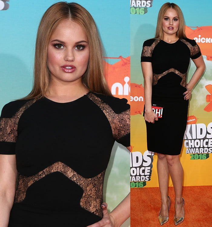 Debby Ryan in a flattering black dress from Mikael D's Spring 2016 collection