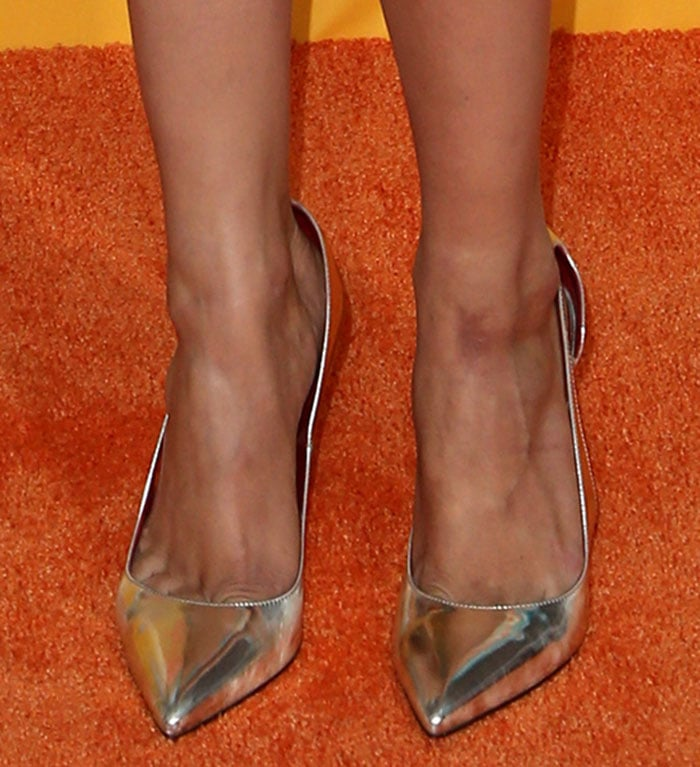 Debby Ryan's sexy feet in silver pumps