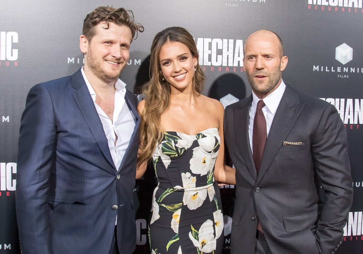 Dennis Gansel, Jessica Alba, and Jason Statham the premiere of Summit Entertainment's 'Mechanic: Resurrection'