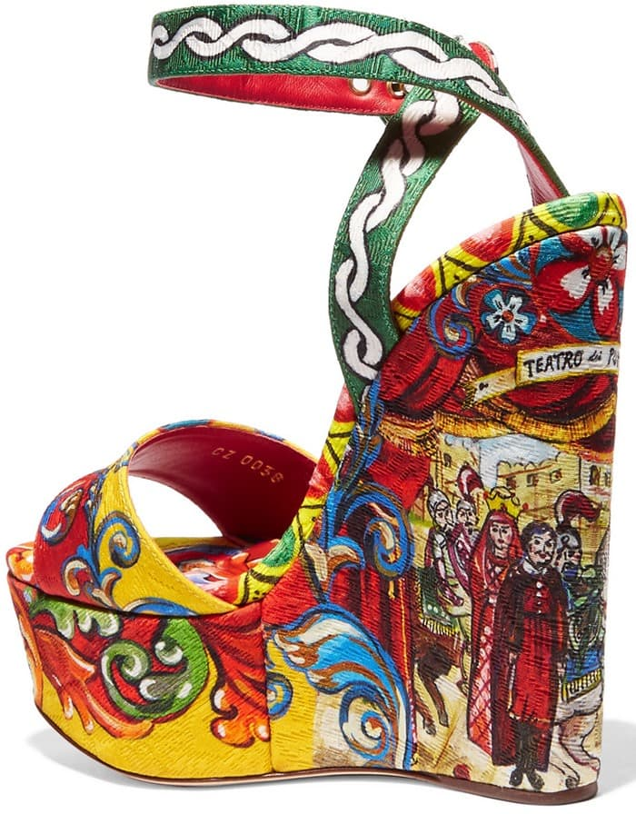 3aed706568f Vibrantly Printed Dolce   Gabbana Brocade Wedge Sandals