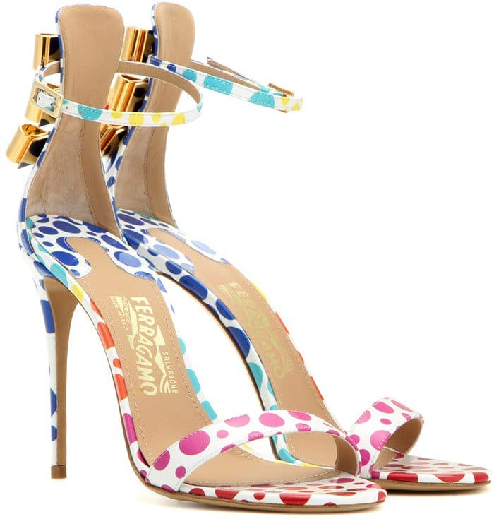 Edgardo Osorio for Salvatore Ferragamo Angie printed patent leather sandals