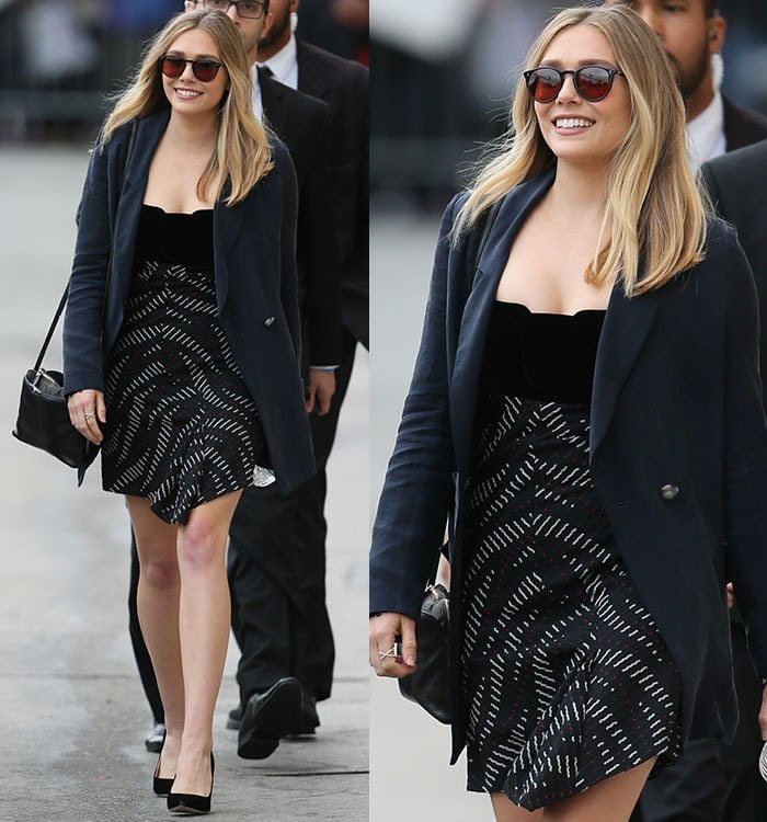 """Elizabeth Olsen leaving the ABC studios after appearing on """"Jimmy Kimmel Live"""" in Los Angeles on March 21, 2016"""