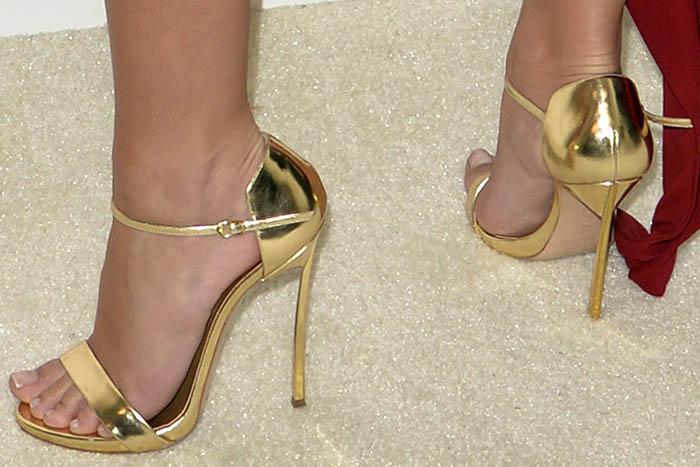 Emily Ratajkowski Casadei metallic blade sandals