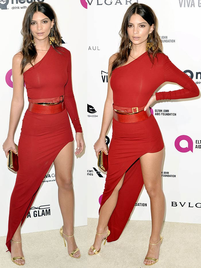 Emily Ratajkowski in a one-shoulder dress by Alexandre Vauthier the 24th Annual Elton John AIDS Foundation's Oscar Viewing Party