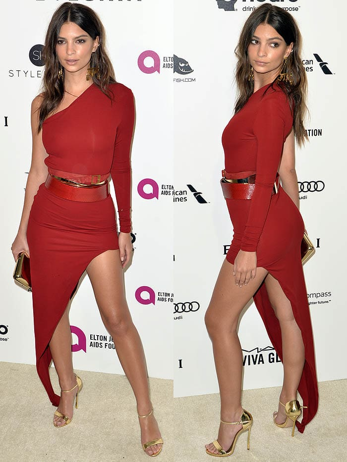 Emily Ratajkowski Elton John Oscar Viewing Party