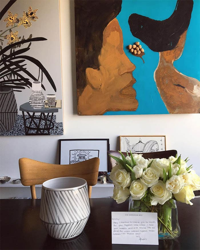 Emily Ratajkowski Kim Kardashian flowers 1