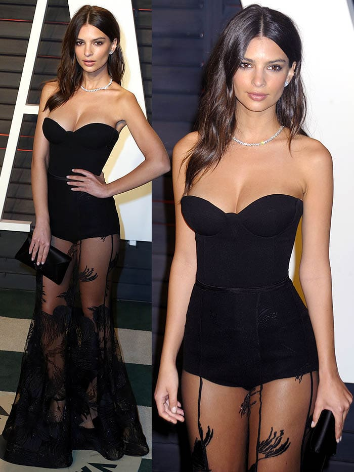 Emily Ratajkowski shows off her chest and legs in a floor-length gown