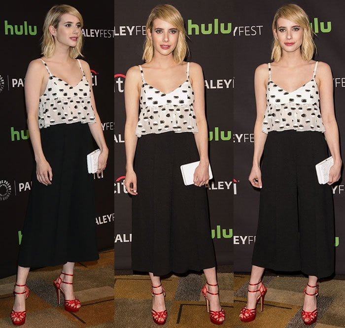 Emma Roberts wears a Thakoon top and Atea Oceanie pants to PaleyFest Los Angeles