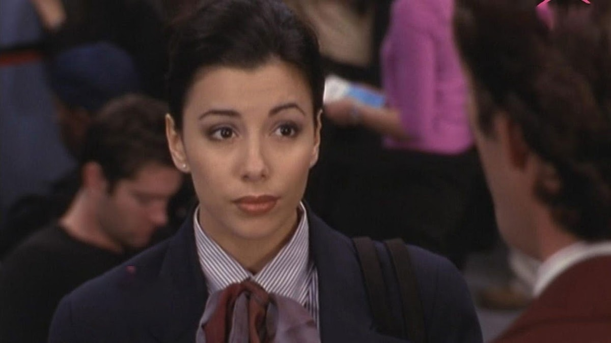 """Eva Longoria playing the unnamed """"Flight Attendant #3"""" in I Will Be Your Father Figure, an episode of Beverly Hills, 90210 that aired on March 8, 2000"""