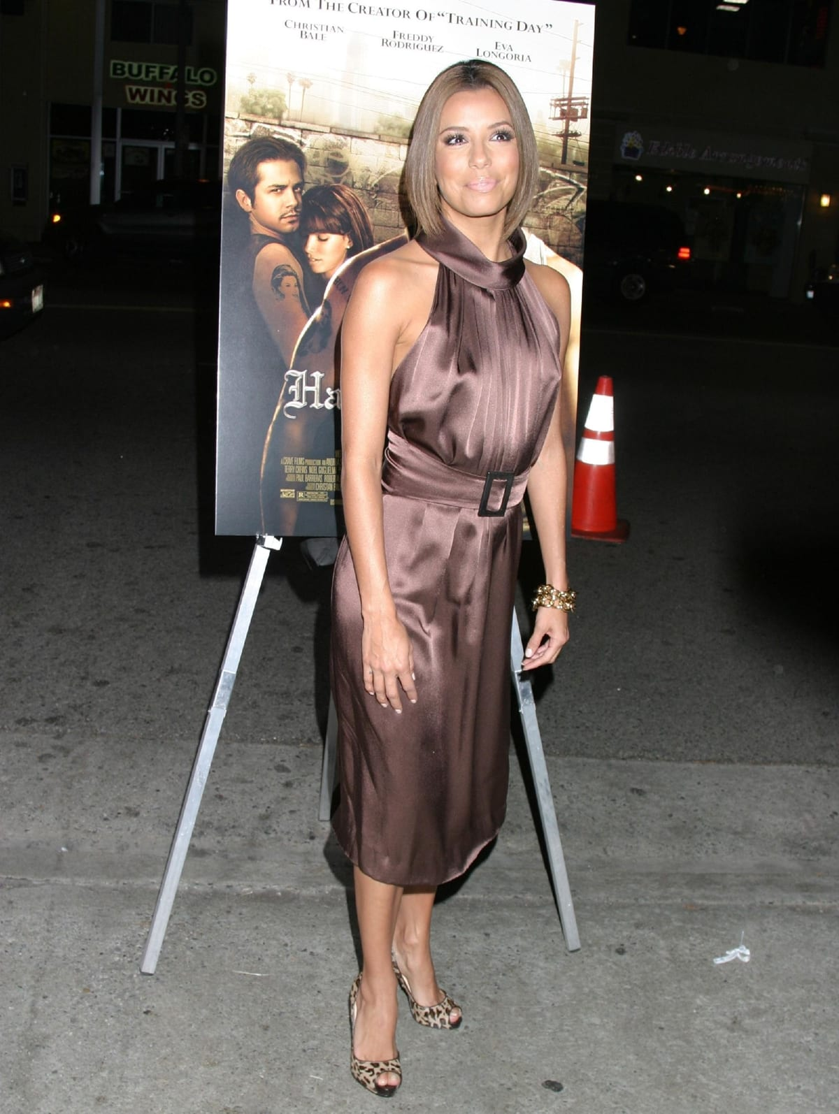 Eva Longoria in leopard Christian Louboutin pumps at the premiere of Harsh Times