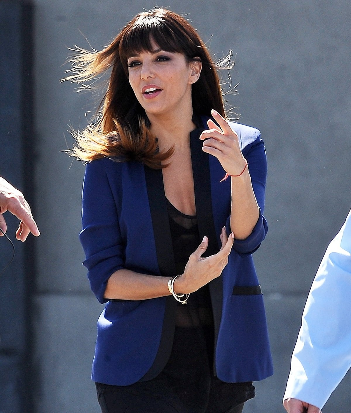 Eva Longoria with new bangs filming 'Visions' in downtown Los Angeles