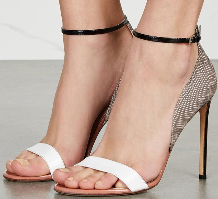 Francesco Russo Tri-tone Watersnake and Leather Sandals