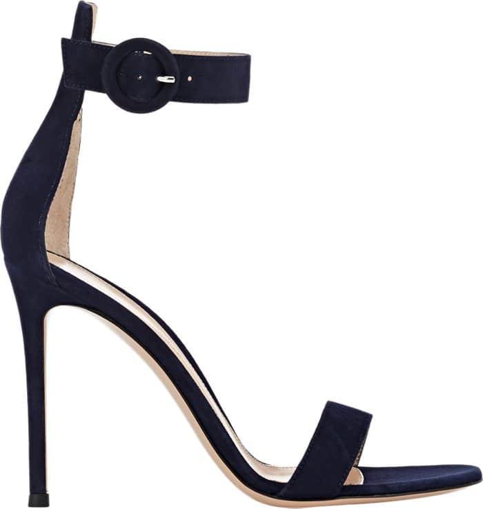Gianvito Rossi Denim Blue suede Portofino ankle-strap sandal