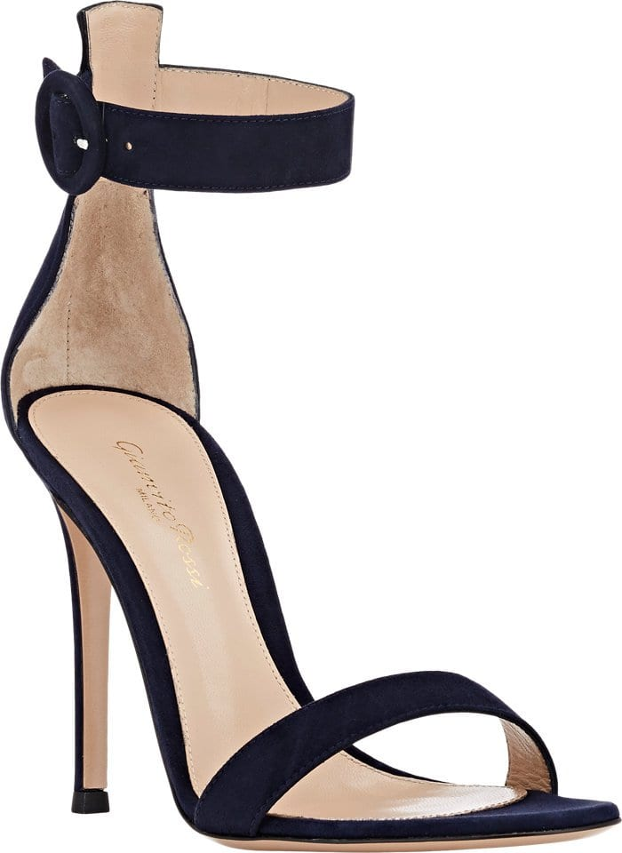 Gianvito Rossi Denim Blue suede Portofino ankle-strap shoes