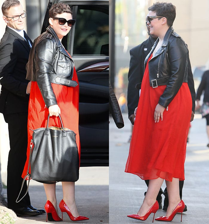 Ginnifer Goodwin witha tousled pixie cut and minimal makeup