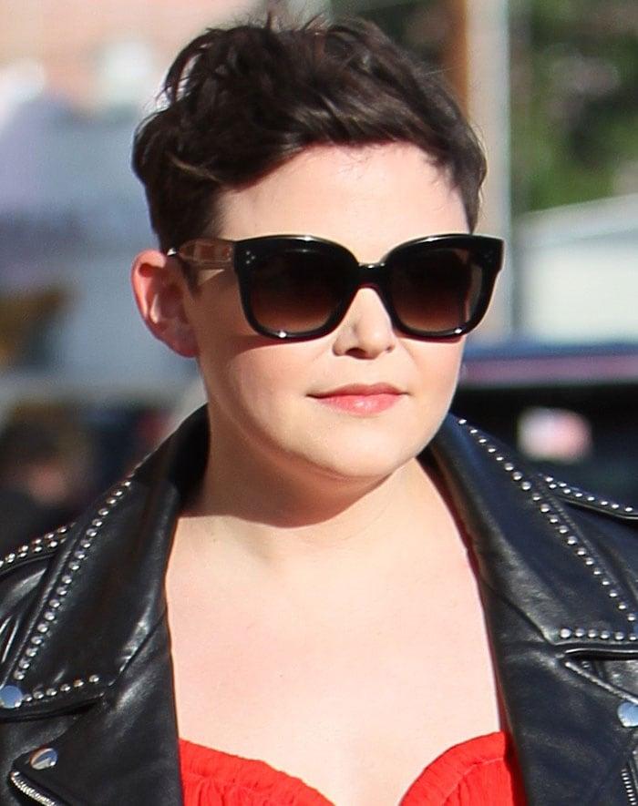 Ginnifer Goodwinhid her eyes behind oversized black sunglasses