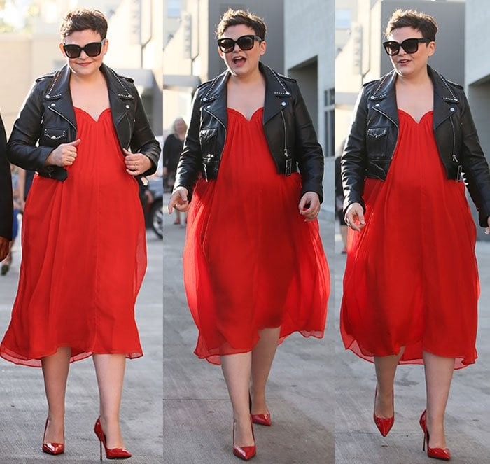 The pregnant Ginnifer Goodwin styled her red dress with a leather biker jacket