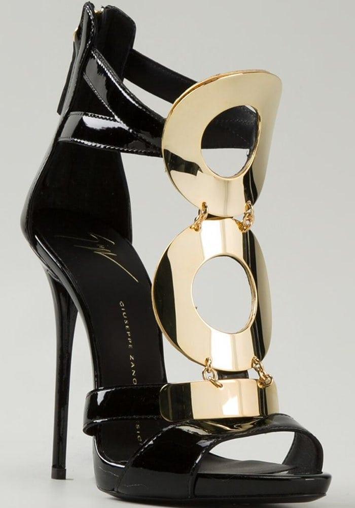Giuseppe Zanotti Patent Leather Goldtone Ring Sandals