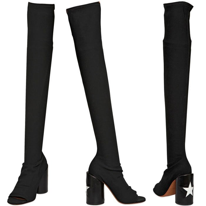 Givenchy 'Reane' Star-Heel Lycra Over-the-Knee Peep-Toe Boots