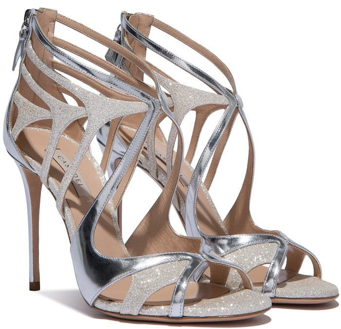Glitter and Mirrored-Leather Casadei Sandals