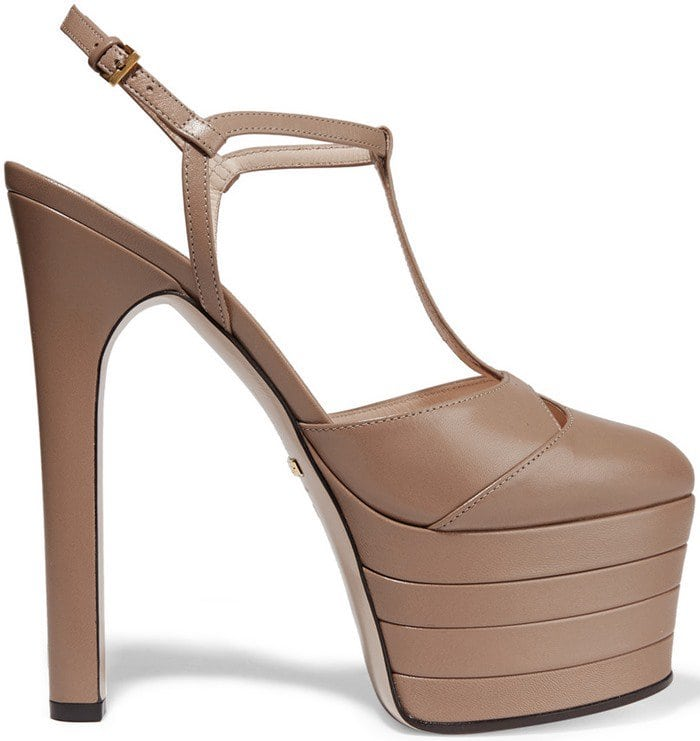 Gucci 'Angel' Leather Platform Pumps in Taupe