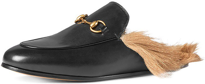 """Gucci """"Princetown"""" Fur-Trimmed Leather Slippers"""