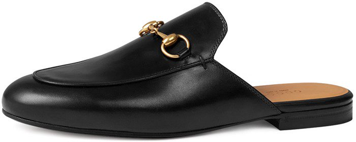 Gucci Princetown Leather Horsebit Mule Slipper Flat in Black