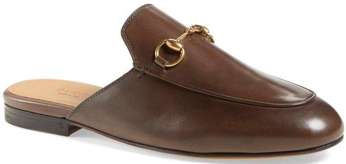 Gucci Princetown Leather Horsebit Mule Slipper Flat in Brown