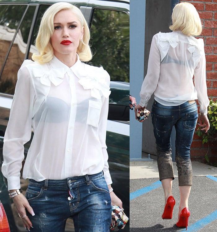 Gwen Stefani's distressed mud-printed cropped jeans