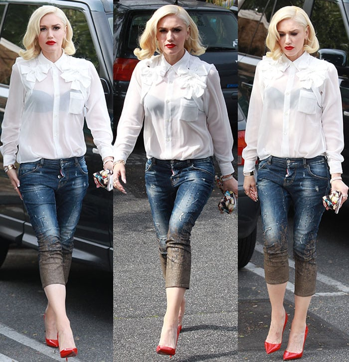 Gwen Stefani arriving at a recording studio in Culver City, California on March 3, 2016