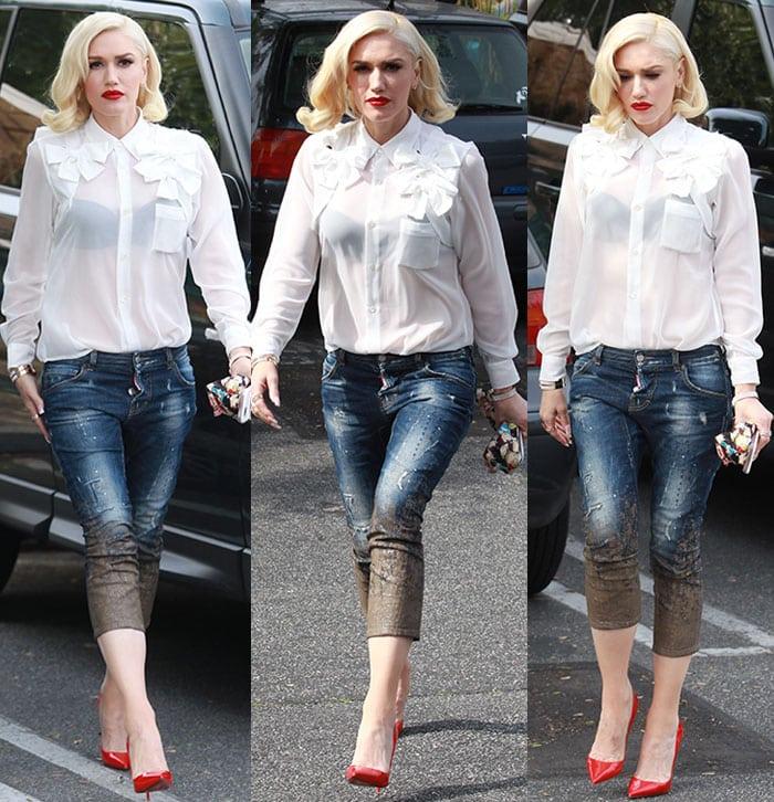 61209eb9c767 Gwen Stefani s See-Through Button-Down Shirt and Mud-Printed Jeans